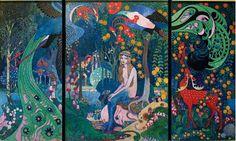 Heinrich Vogeler - Melusine Triptychon, c. Heinrich Vogeler, Tarot, Age Of Aquarius, Pre Raphaelite, Merfolk, Art Google, Faeries, Oil On Canvas, Fantasy Art