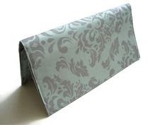 Blue and Grey Damask Checkbook Cover, Fabric Wallet by TwoBeesCreations on Etsy