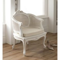 The La Rochelle Antique French Rattan Chair in hand carved mahogany, a beautiful addition to any bedroom. White Rattan Bedroom Furniture, Vintage Bedroom Furniture, Bedroom Furniture Makeover, French Furniture, Bedroom Vintage, Furniture Layout, Shabby Chic Furniture, Small Bedroom Chairs, Kids Furniture