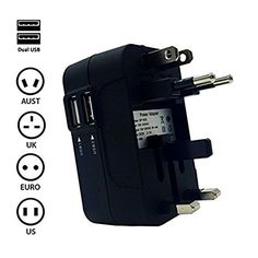 TFSeven All in One World Travel International Power Charger Adapter Conversion Plug Universal Power Plug Adapter With 2 USB Ports for US UK EU AU fits MP3 Camera GPS and Cellphones Black -- You can get more details by clicking on the image.