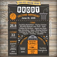 Basketball Birthday Chalkboard Basketball by PRINTSbyMAdesign