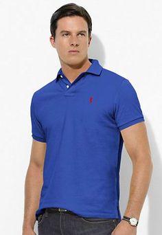 polo ralph lauren outlet online Ralph Lauren Men\u0026#39;s Custom-Fit Stretch-Mesh Short Sleeve Polo Shirt Blue