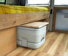 Small RV Trailers Bathroom - there are lots of options for a bathroom in a small rv or travel trailer. Not all of them are my preference, but some are more space saving than others. One of those is a porta potty or chemical toilet stored in a cupboard or under the bed.