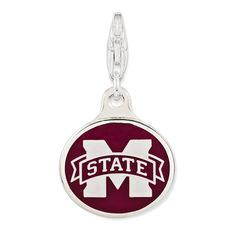 Roy Rose Jewelry Sterling Silver Enamel Mississippi State University w/ Lobster Clasp Charm * Click image for more details. (This is an affiliate link) #CharmsandCharmbracelets