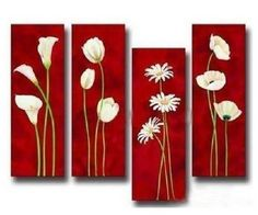 4 Pics Blooming Spring Flowers Modern Art 100% Hand Painted Oil Painting on Canvas Wall Art Deco Home Decoration (Unstretch No Frame) - Tobona.com