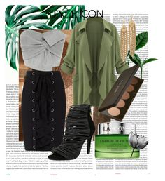 """""""Green w/ envy."""" by coraltribe ❤ liked on Polyvore featuring Oris, Exclusive for Intermix, WithChic, Lancôme and Capwell + Co"""