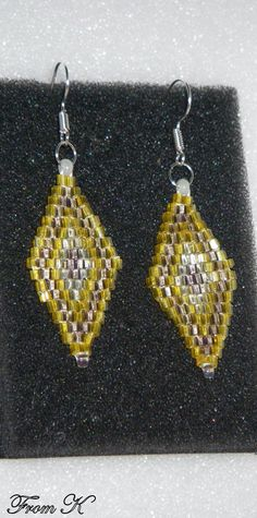Beaded Earrings, Crochet Earrings, Diamond Shapes, Czech Glass, Perfect Match, Cod, Mauve, Seed Beads, Hand Weaving