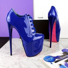 Blue Gloss Oxford Ankle High Heels Chunky High Heels, Thick Heels, High Heel Boots, High Heel Pumps, Pumps Heels, Bootie Boots, Ankle Boots, Super High Heels, Black High Heels