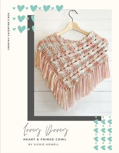 Lovey Dovey Cowl Knit Pattern Valentine Box, Neck Piece, Lovey Dovey, Knit Patterns, Crochet Hooks, Cowl, Crochet Necklace, Stripes, Tapestry