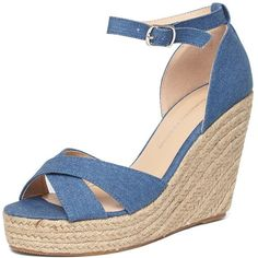Dorothy Perkins Denim 'Rylie' Platform Wedge Sandals (59 AUD) ❤ liked on Polyvore featuring shoes, sandals, blue, espadrille wedge sandals, denim wedge sandals, blue wedge sandals, wedge shoes and high heels sandals