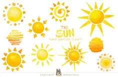 Watercolor Sun Clip Art by SaylorWolf Watercolors on Creative Market