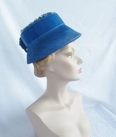 Clearance 1960's Vintage Blue Lamp Shade Hat by MyVintageHatShop