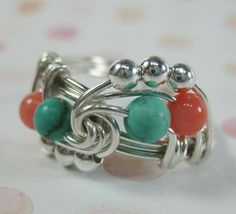 Wire Wrapped Ring Turquoise and Coral Trinity by holmescraft, $30.00