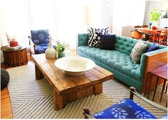 Couch- teal and navy with ikat