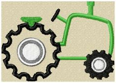 Tractor Applique Design - machine embroidery design