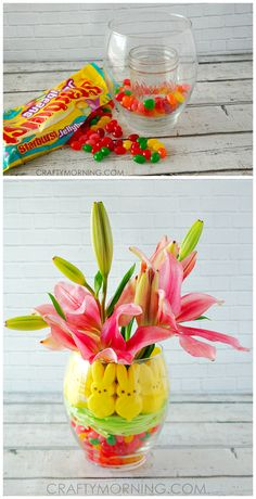 Cute peeps and jelly bean Easter vase centerpiece idea! Great craft for gifts and decorating for parties!