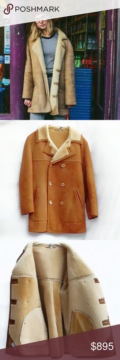 Vintage Shearling Sheepskin Coat Stunning Vintage Unisex Shearling Sheepskin Jacket. Size Large. Double breasted, horn buttons, in excellent condition. Vintage Jackets & Coats