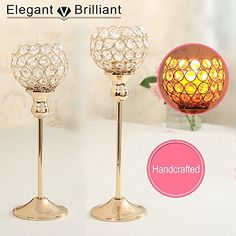 VINCIGANT Handcrafted Candlesticks Wedding Centerpieces Home Decoration Gold Crystal Candle Holders Set of 2 for Dinning Table Centerpieces