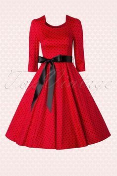 50s Sofie Polkadot Swing Dress in Red and Black