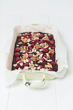 Raspberry and Almond Chocolate Brownies | Marylicious, January 2014 [Original recipe in German]