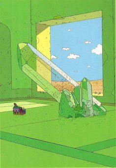 Moebius A room with a view (and a giant crystal) in my dream house Jean Giraud, Art And Illustration, Illustrations And Posters, Arte Sci Fi, Sci Fi Art, Moebius Art, Instalation Art, Ligne Claire, Comic Kunst