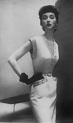 1950s sheath dress with beaded trim