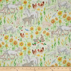 Country Days Scenic Animals Multi from @fabricdotcom  Designed by Heidi Boyd for Red Rooster Fabrics, this cotton print fabric features a serene farm scene with towering sunflowers and happy animals. Perfect for quilting, apparel and home decor accents. Colors include white, black, shades of grey and green, taupe, pale pink, nude, mustard, red, magenta, blue, sky blue, orange and shades of yellow.