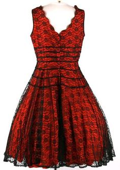 Red Black Lace Party Cocktail Dress. 1950 s dress. Cute Cocktail Dresses 9378c78f4e05