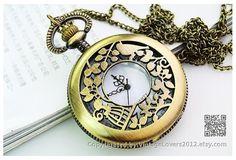 Vintage Necklace Steampunk Pocket Watch Chain (PWAT0105-Big)