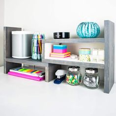 Customize your storage with this DIY adjustable desktop organizer! Expands from 12 to 24 long or fits into a corner with the 90 degree configuration. Carpentry Projects, Easy Wood Projects, Easy Woodworking Projects, Woodworking Plans, Woodworking Shop, Woodworking Classes, Project Ideas, Popular Woodworking, Woodworking Machinery