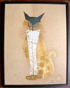 original Japanese modernist cat, mixed media, metalic pigments, signed Akira | eBay