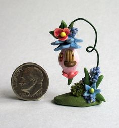 Handmade Miniature  WHIMSICAL FAIRY BLOSSOM WEE HANGING HOUSE - by C. Rohal #CRohal
