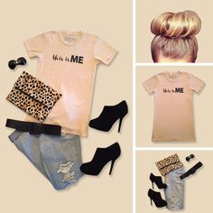"""Such a cool way to wear """"yourself"""". The open toe booties make it!!  #ootd #Tshirttuesday"""