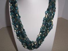 Crochet Ladder Lace Necklace Trellis Ribbon Lace Fiber Yarn Teal Cream Fashion