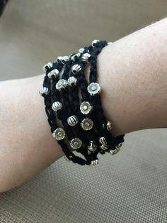 Crochet Wrap Bracelet Black and Silver by QuixoticCrochetGifts