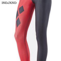 Fashion Women Black Milk Black Red Harley Quinn Energy Print Elastic Sexy Girl Leggings Size S-XXXXL Calzas Mujer Halloween K135 #Affiliate