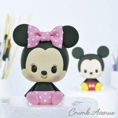 Minnie Mouse Cake Topper Minnie Mouse Cake Topper by Crumb Avenue<br> Fondant Figures Tutorial, Cake Topper Tutorial, Cake Toppers, Polymer Clay Kawaii, Polymer Clay Crafts, Mickey Mouse Cake Topper, Crea Fimo, Cute Clay, Disney Cakes
