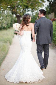 Classic Lace Mermaid Gown | K Stone Photography - Kstonephoto.com Wedding Planning & Design: Marisa Nicole Events - marisanicole.com/ Read More: http://www.stylemepretty.com/2014/09/19/fresh-farm-to-table-wedding-in-napa/