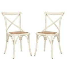 Safavieh American Home Collection Alexia Antiqued X-Back Side Chairs, White