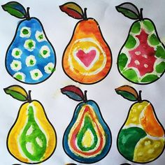 Patterned pears, watercolour over white oil pastel, quick and fun
