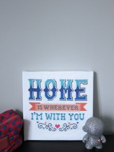 Home is Wherever I'm With You - modern cross stitch pattern - typography inspired - PDF format - instant download