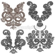 Collection of ornamental floral neckline embroidery fashion by karakotsya - Stock Vector