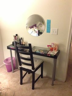 Ikea Malm Dressing Table Used As Makeup Vanity Chair Is