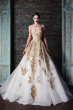 Beautiful gold wedding gown. Rami Kadi
