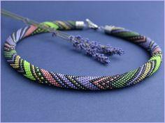 Bead Crochet Necklace Lavender's days by Chudibeads on Etsy
