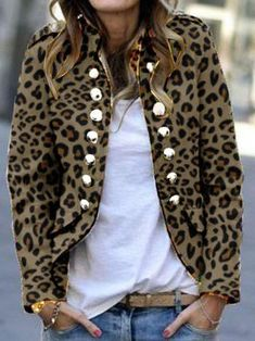Fashion Leopard Print Double-Breasted Jacket - Fashion Leopard Print Double-Breasted Coat – Arcladyshop Source by - Cardigan Fashion, Suit Fashion, Fashion Outfits, Womens Fashion, Fashion Trends, Fashion Coat, Style Fashion, Fashion Guide, Brown Fashion