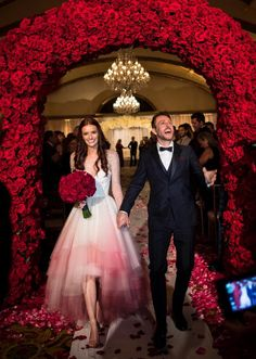 Chris Hardwick and Lydia Hearst's wedding with the bride in a bespoke pink ombre beaded Christian Siriano wedding gown with high-low hem // Celebrity wedding inspiration