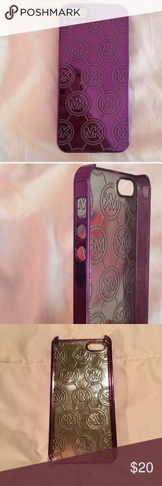 Micheal kors shiny purple iPhone 5 case. Micheal kors shiny purple iPhone 5 case. Very gently used I only had it on my phone for 2 days then I upgraded phones. KORS Michael Kors Accessories Phone Cases