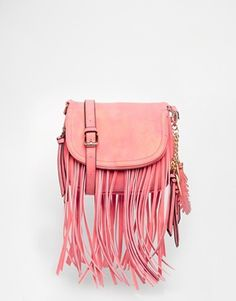 cad42398458 ALDO Saddle Across Body bag with Fringing in Coral Pink Aldo Handbags