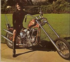 """rawhidecycles: """" Really digging these ultra Psychedelic paint jobs on the custom bikes. John Bonham on that British bike and that babe on a Harley. Lots of chrome and lots of color. Super rad...."""